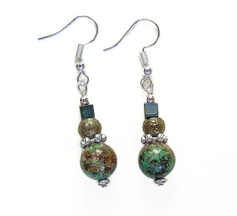 Turquoise, Silver and Olive Green Gemstone Earring - 20116ER