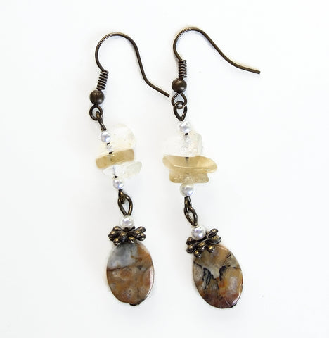 Cream and Beige Gemstone Earring - 19226ER