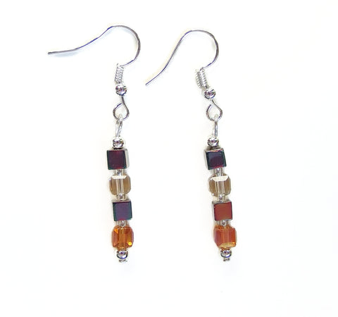 Crystal and Hematite Cube Earring - 20124ER