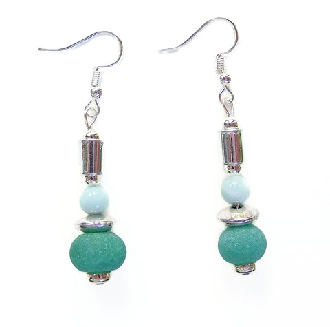 Green and Silver Gemstone Earring - 20102ER