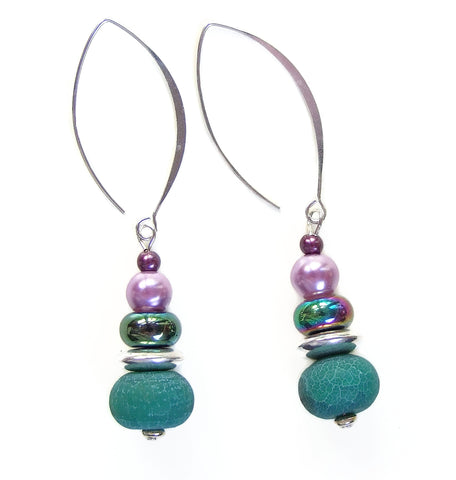 Green, Lilac and Rainbow Gemstone Earring - 20129ER