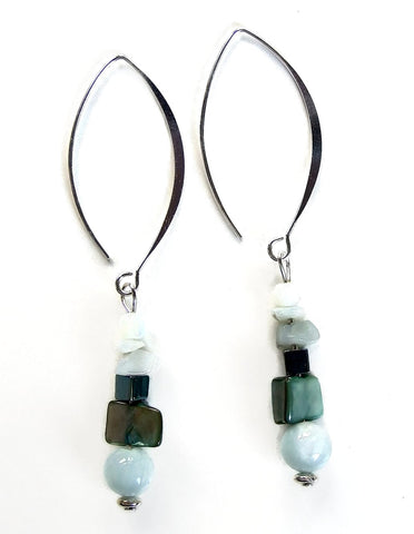 Aqua and Teal Shell and Gemstone Earring - 20103ER