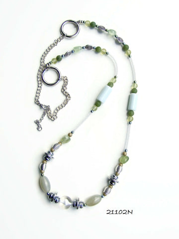 21102N.  Long Green, White and Silver Gemstone Necklace.