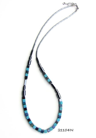 21104N.  Long Turquoise and Blue Art Deco Style Gemstone Necklace