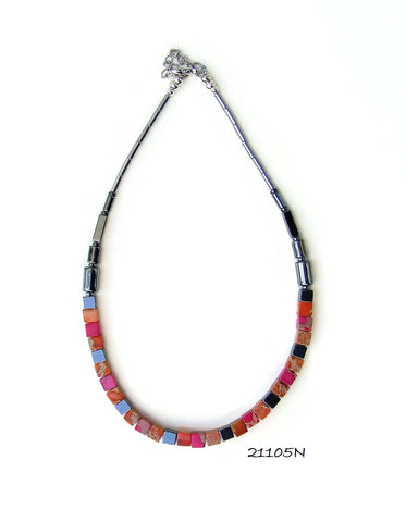 21105N.   Orange and Pink Art Deco Style Gemstone Necklace.