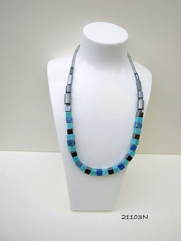 21103N.   Turquoise and Blue Art Deco Style Gemstone Necklace.