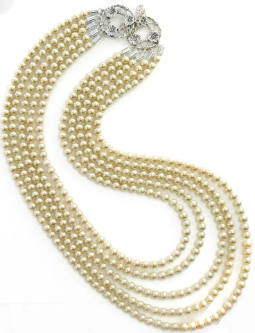 Five strand cream pearl necklace - 17062N