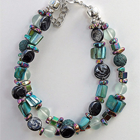 Two strand hematite, shell and lava stone bracelet - M17076br