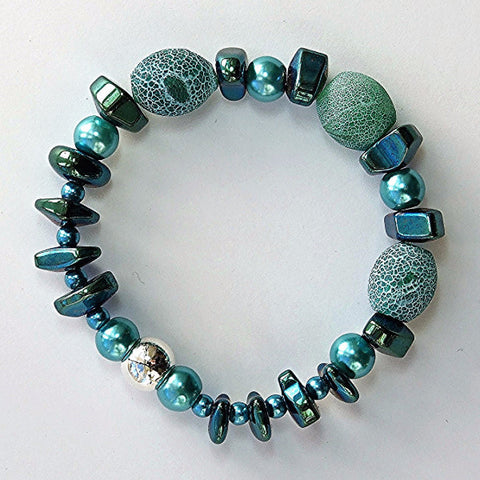 Unpolished agate and hematite bracelet - M17067br