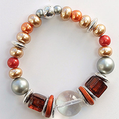 Tangerine and cream pearl bracelet with glass cubes - M17083br
