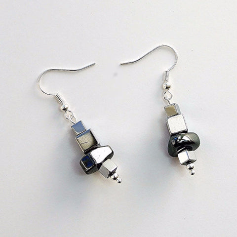 Cube and nugget hematite earrings - 17024ER
