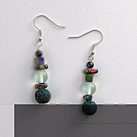 Hematite, glass and lava stone earrings - M17041er