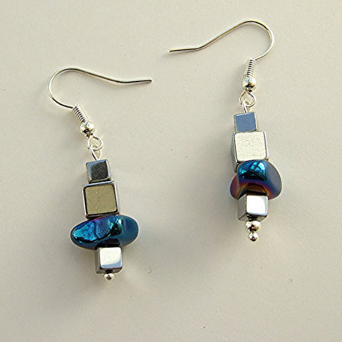 Cube and nugget hematite earrings - 17035ER