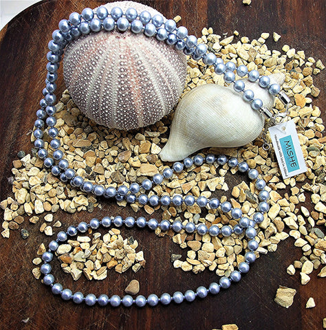 Extra long silver blue pearl necklace - M17058