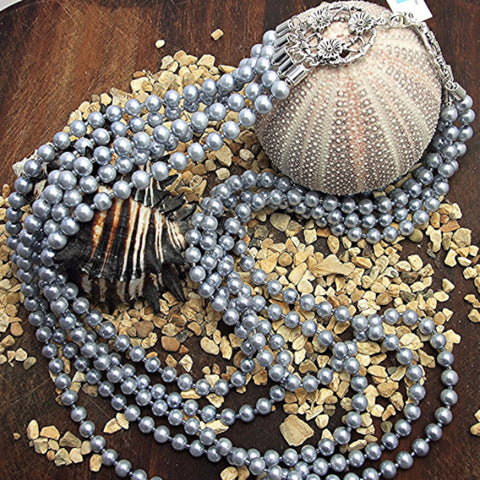 Five strand steel grey pearl necklace - M17064