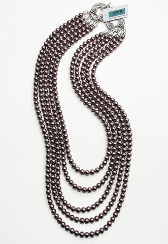 Five strand Taupe pearl necklace - 17063N