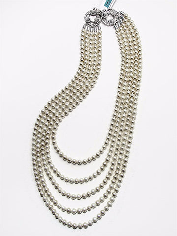 Five-strand ivory pearl necklace - 17065N