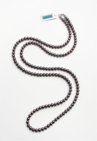 Extra long taupe pearl necklace - 17057N