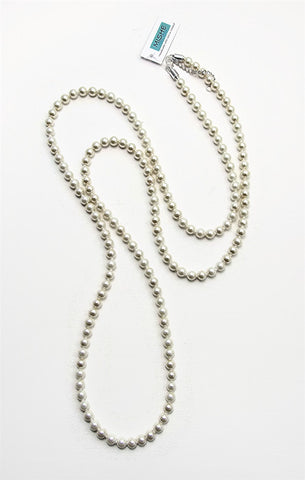 Extra long Ivory pearl necklace - 17059N