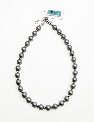 Steel grey pearl necklace - 17046N