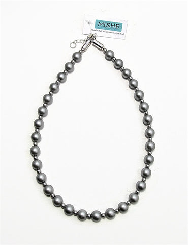 Matte grey pearl necklace - 17047N