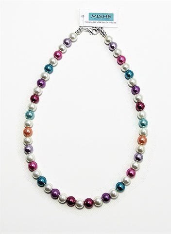 Multi coloured pearl necklace - 17054N