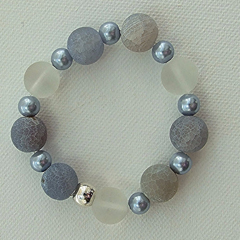 Unpolished blue agate bracelet - M17069br