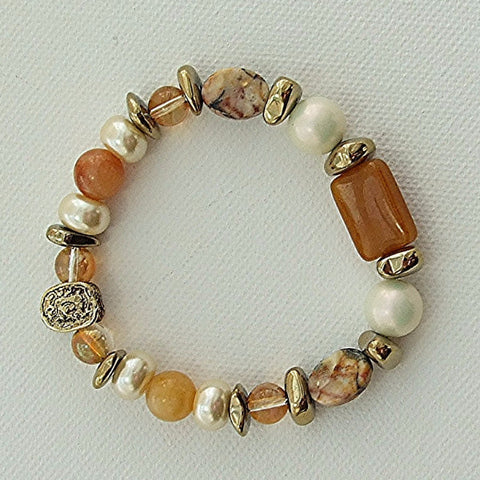 Yellow jade, jasper and hematite bracelet - M17071br