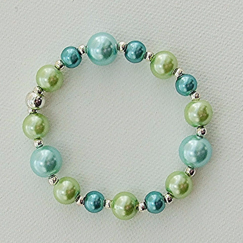 Lime green, aqua, turquoise and silver bracelet - M17081br