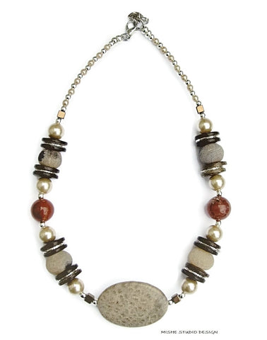 Fossil Coral Gemstone Necklace - 18229N