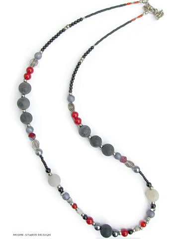Red/Grey/Silver Necklace - 18240N