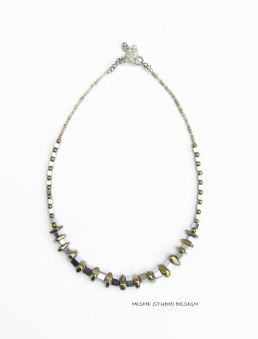 Silver/Gold Hematite Necklace - 18248N