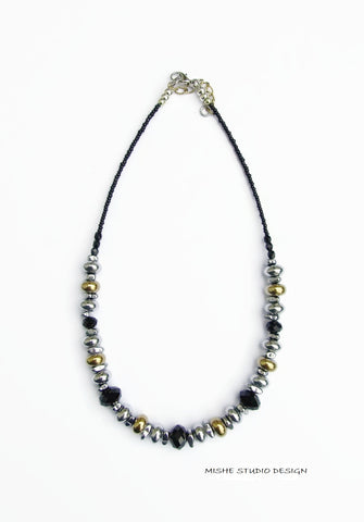 Silver, Gold and Black Necklace - 18224N
