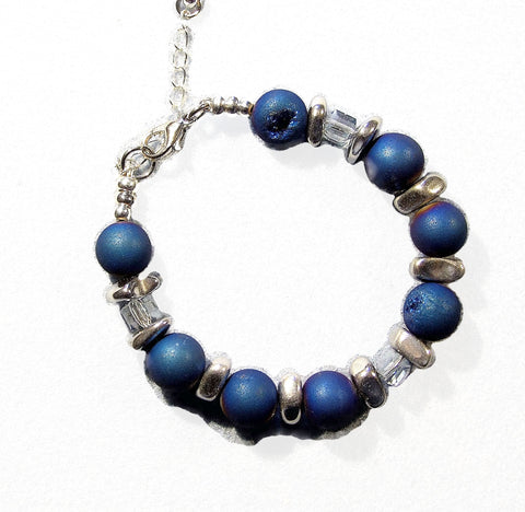 Blue Druzy Quartz and Hematite Bracelet - 18204BR