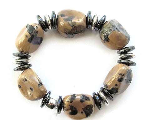 Ceramic and Hematite Bracelet - M18237br