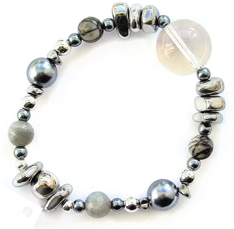 Gemstone, Hematite and Pearl Bracelet -M18210br