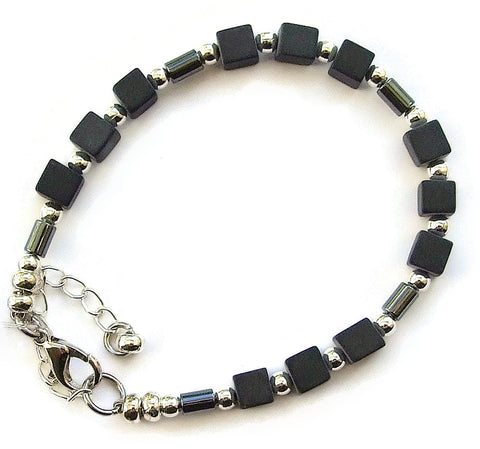 Hematite Cube and Tube Bracelet - M18212br