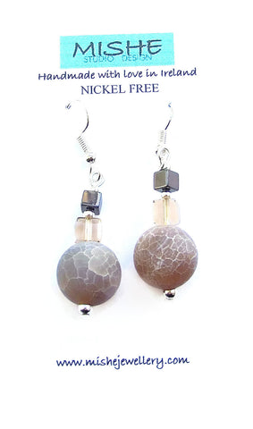 Frosted Agate and Crystal Earring - M18230er