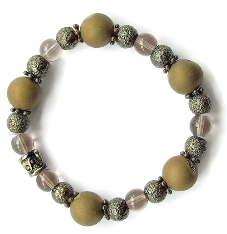 Druzy Quartz Antique Gold Bracelet - M18226br