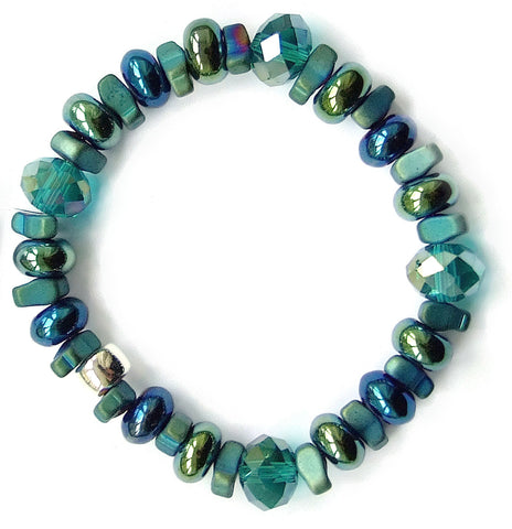 Blue/Green Crystal and Gemstone Bracelet - M18203br