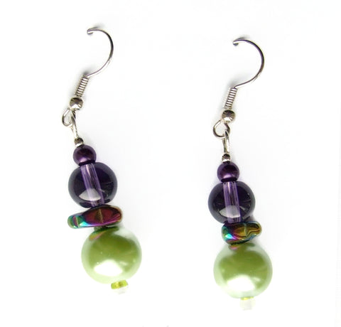 Purple and Green Gemstone Earring - 19021ER