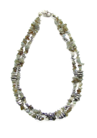 2-Strand Grey/Green Labradorite and Hematite Necklace - 19218N