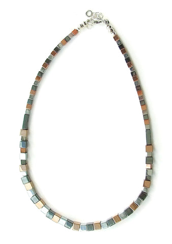 3-Colour Hematite Cube Necklace - 19235N