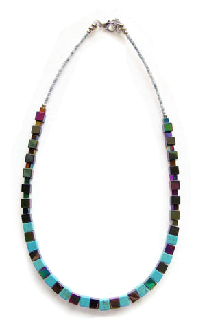 Hematite and Turquoise Regalite Cubes Necklace - 20106N