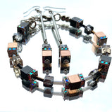 Rose Gold and Grey Hematite and Crystal Cube Bracelet - 20201BR