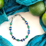 Blue and Green Hematite and Crystal  Cube Bracelet - 20202BR