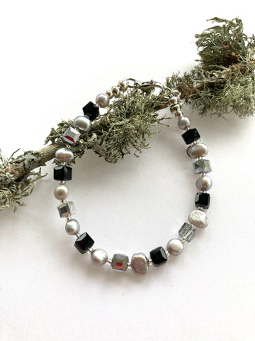 Black and Silver Pearl and Crystal Bracelet - 20204BR