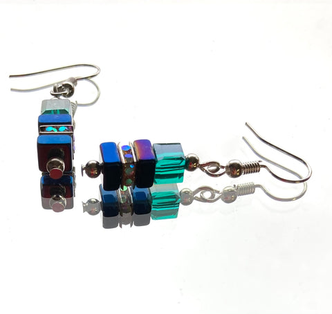 Blue and Green Hematite and Crystal Cube Earring - 20202ER