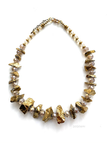 Gold Rock Crystal Necklace _ 20206N