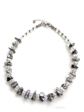 Silver Rock Crystal Necklace - 20207N